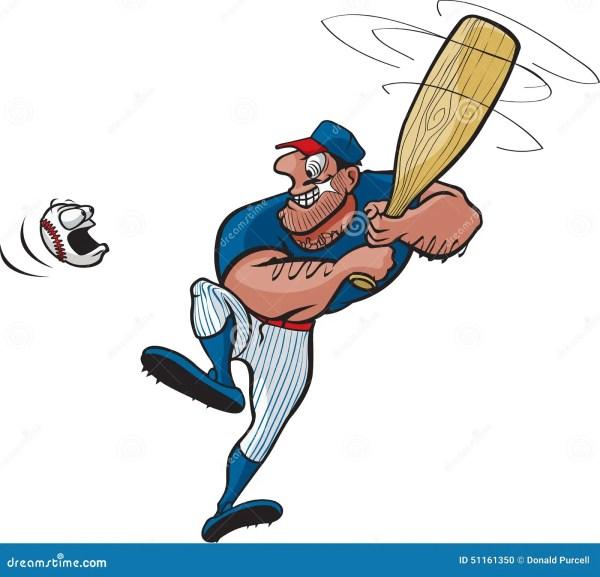 Cartoon Baseball Player Swinging