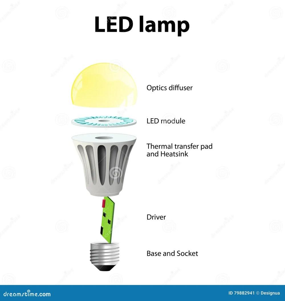 medium resolution of basic components of led light bulbs stock vector illustration of led light schematic led light bulb diagram