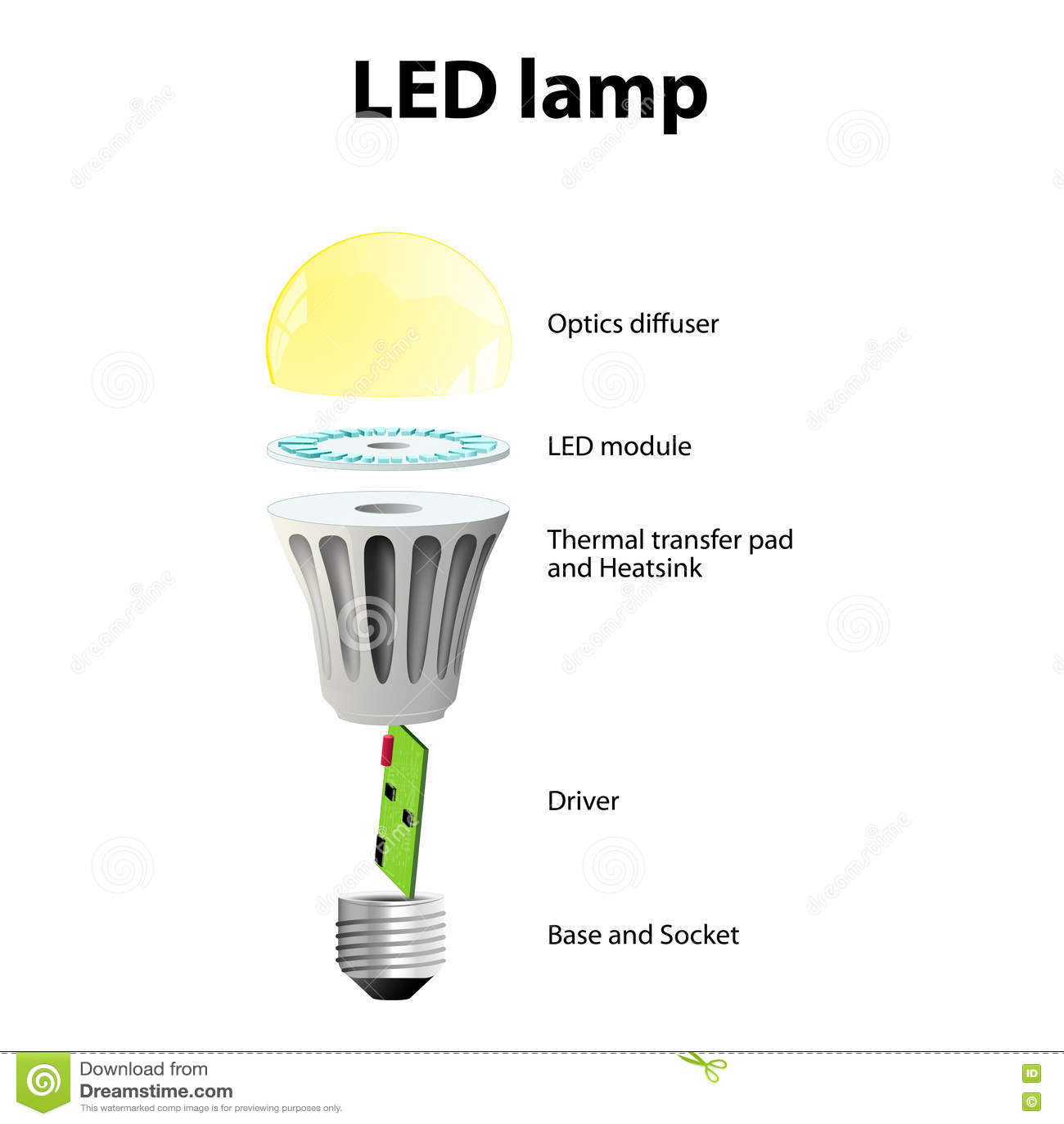 hight resolution of basic components of led light bulbs stock vector illustration of led light schematic led light bulb diagram