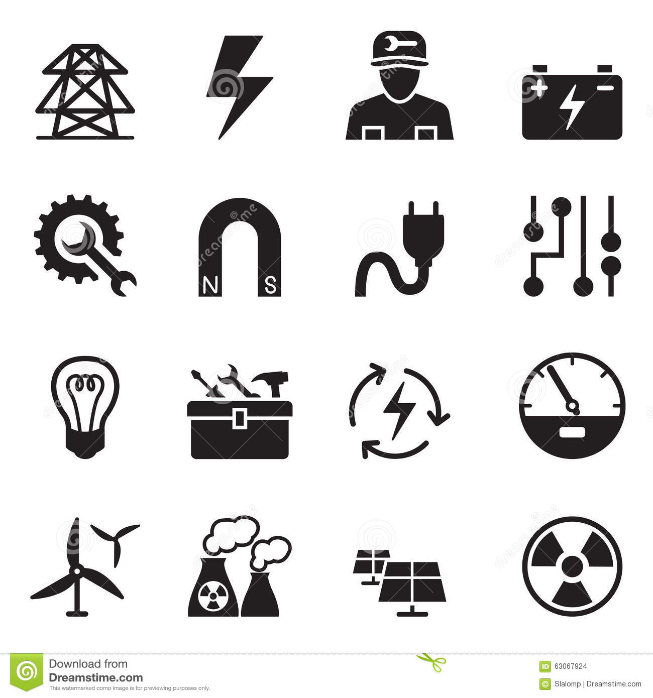 Basic Electricity Icons Set Stock Vector