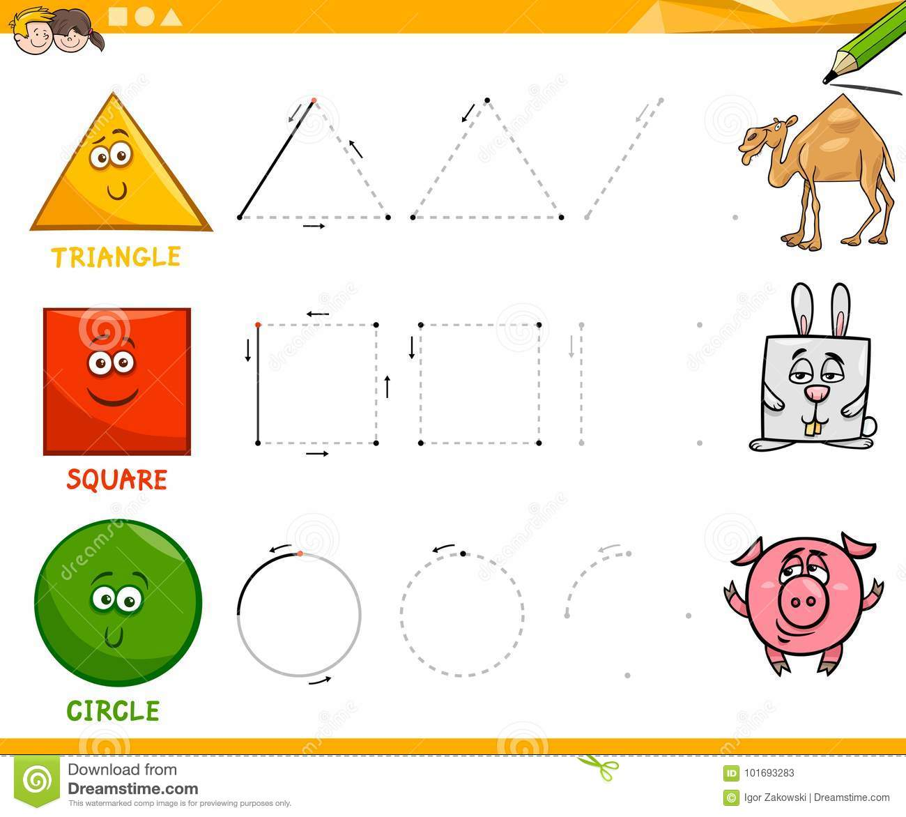 Basic Geometric Shapes Drawing Worksheet Stock Vector
