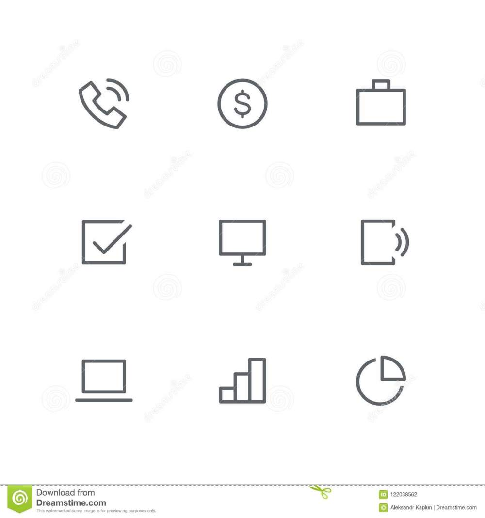 medium resolution of basic outline icon set telephone dollar coin briefcase check mark computer screen mobile phone laptop graph and diagram symbols