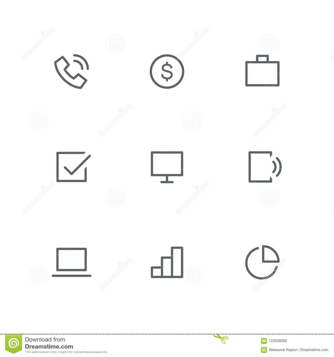 hight resolution of basic outline icon set telephone dollar coin briefcase check mark computer screen mobile phone laptop graph and diagram symbols