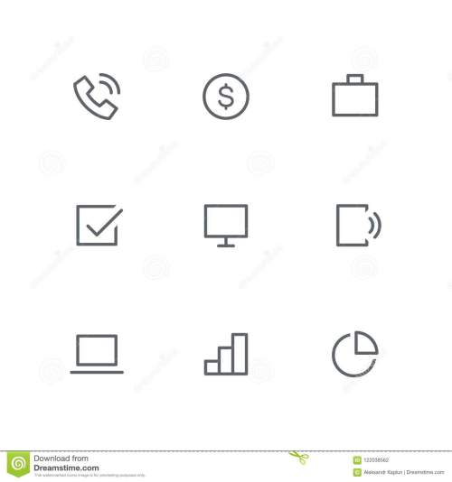 small resolution of basic outline icon set telephone dollar coin briefcase check mark computer screen mobile phone laptop graph and diagram symbols