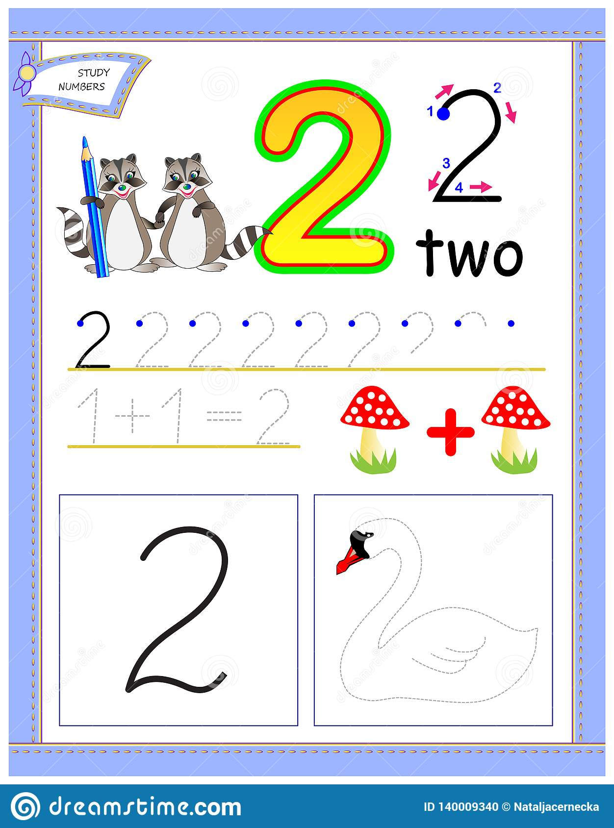 Educational Page For Kids With Number 2 Draw The Contour