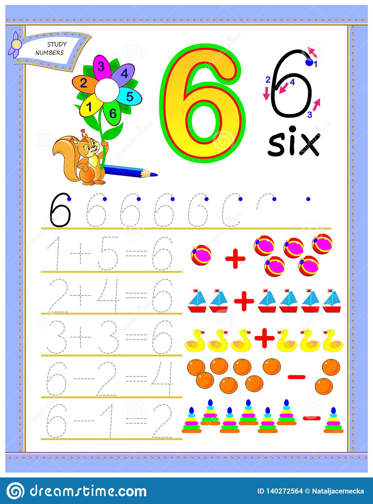 Educational Page For Kids With Number 6 Solve