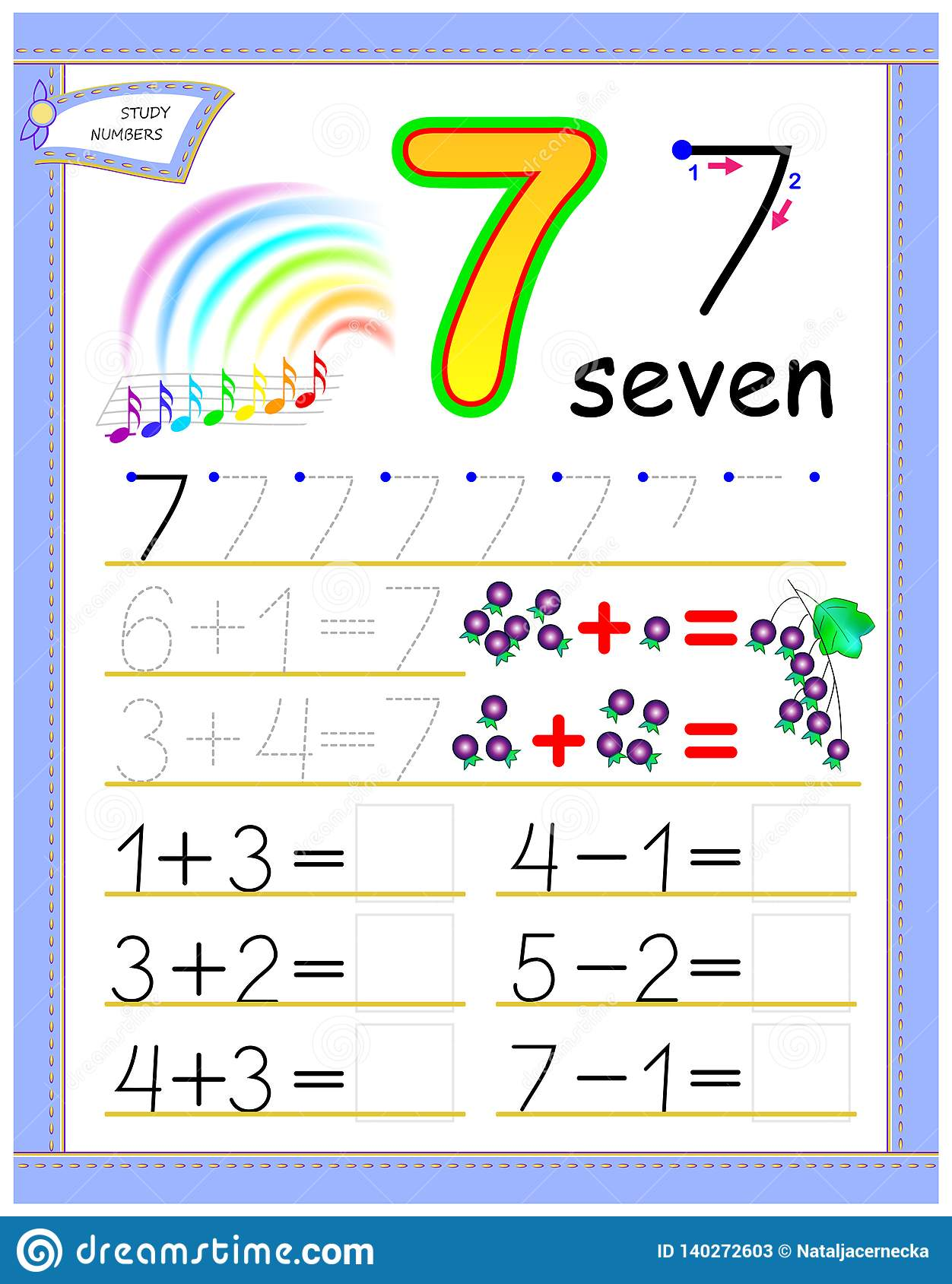 Educational Page For Kids With Number 7 Solve