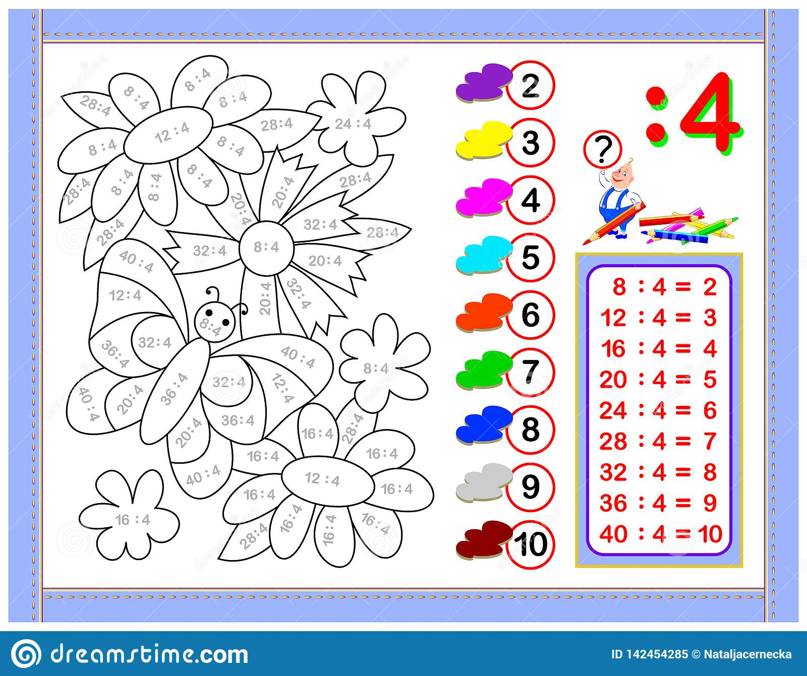 Exercises For Kids With Division By Number 4 Paint The