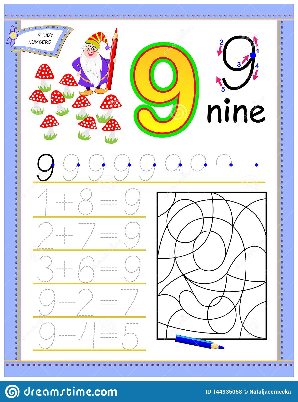 Educational Page For Kids With 9 Solve Mathematical