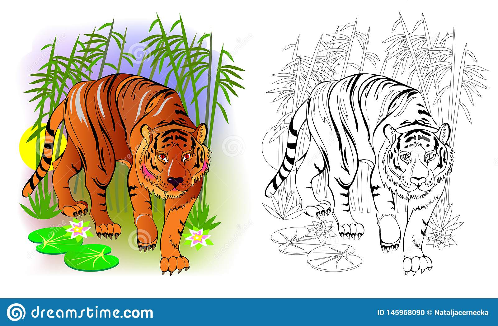 Fantasy Illustration Of Cute Tiger In The Jungle Colorful