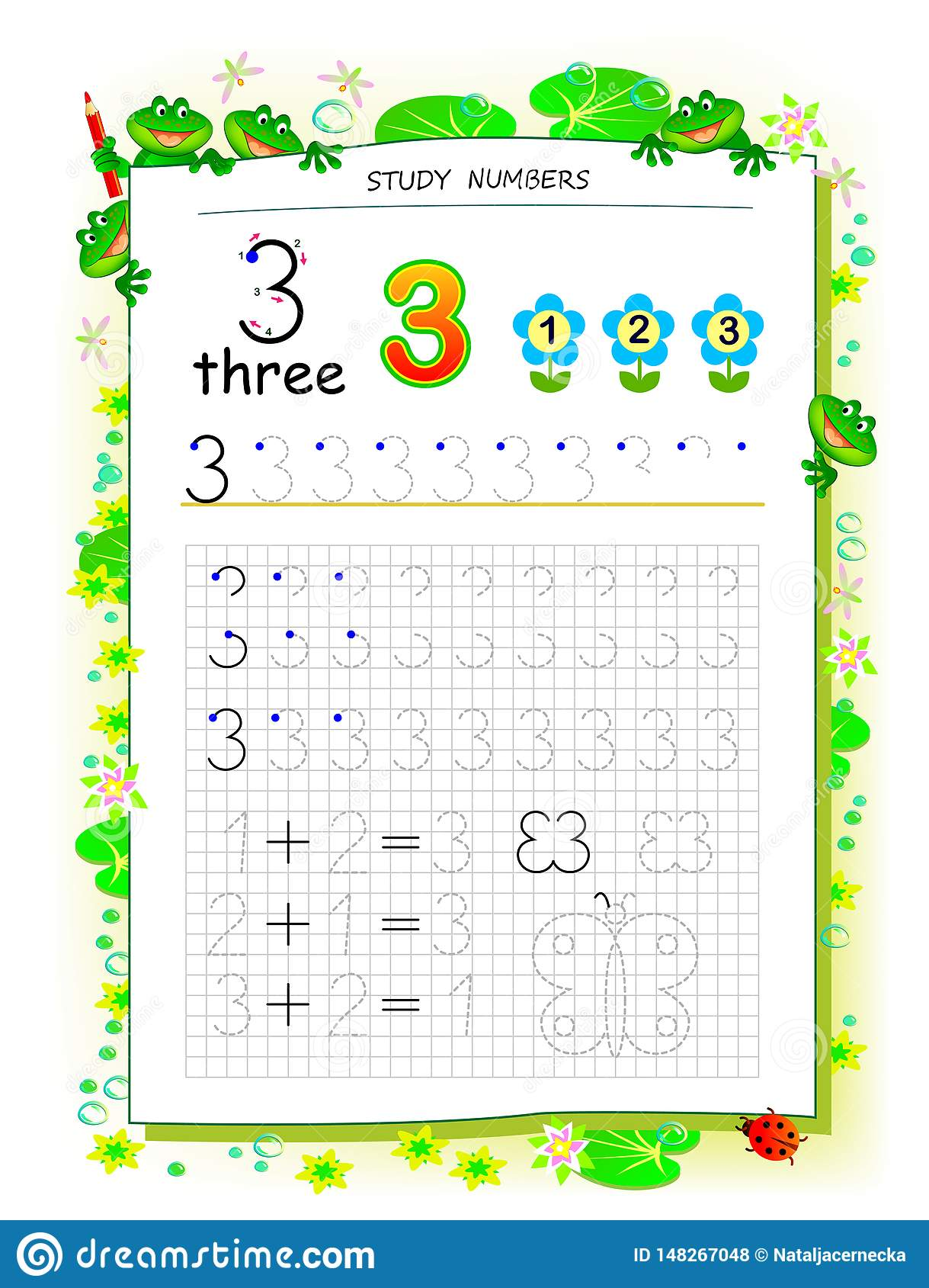 Educational Page On Square Paper For Kids With Number 3