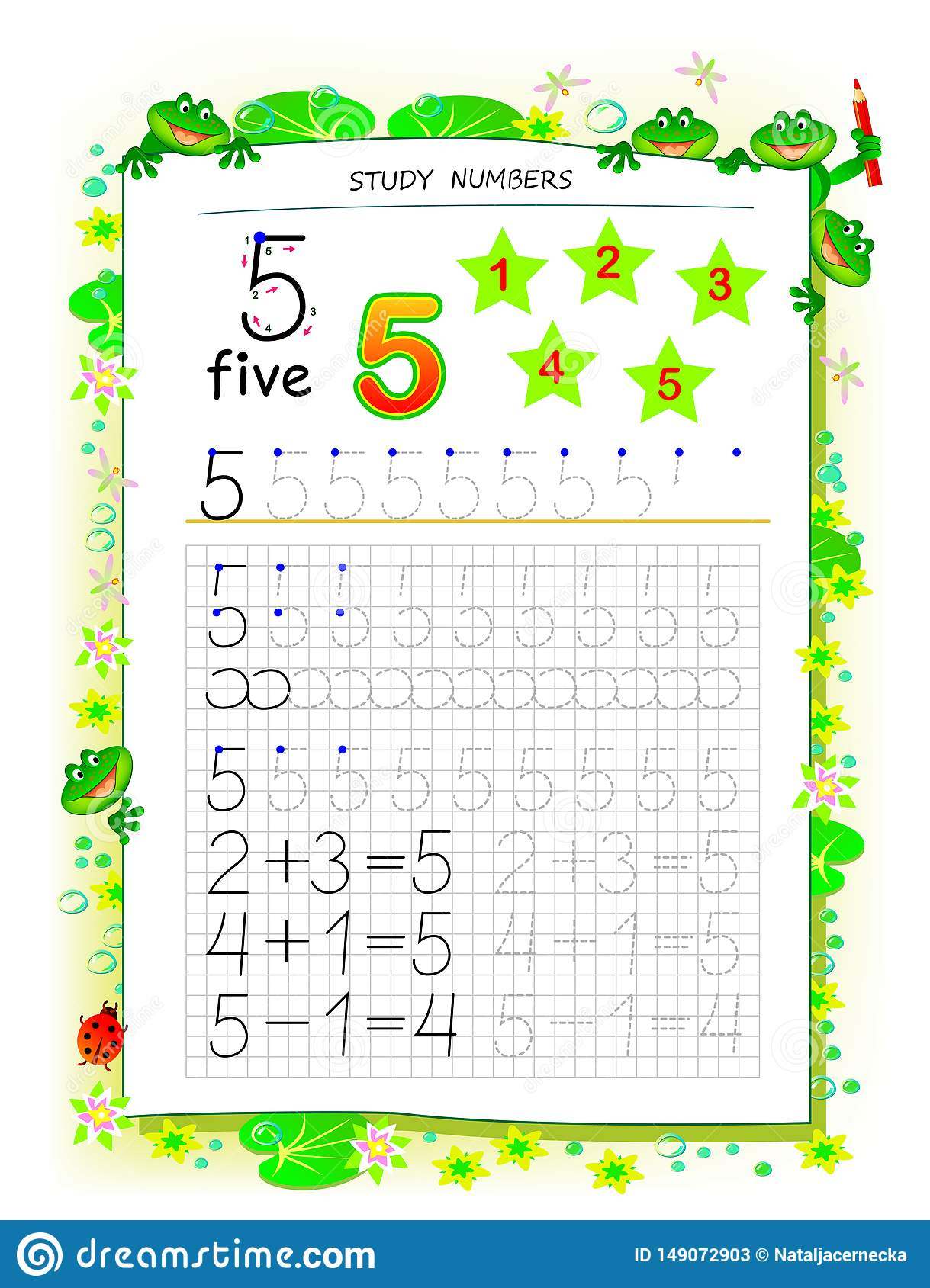 Educational Page On Square Paper For Kids With Number 5