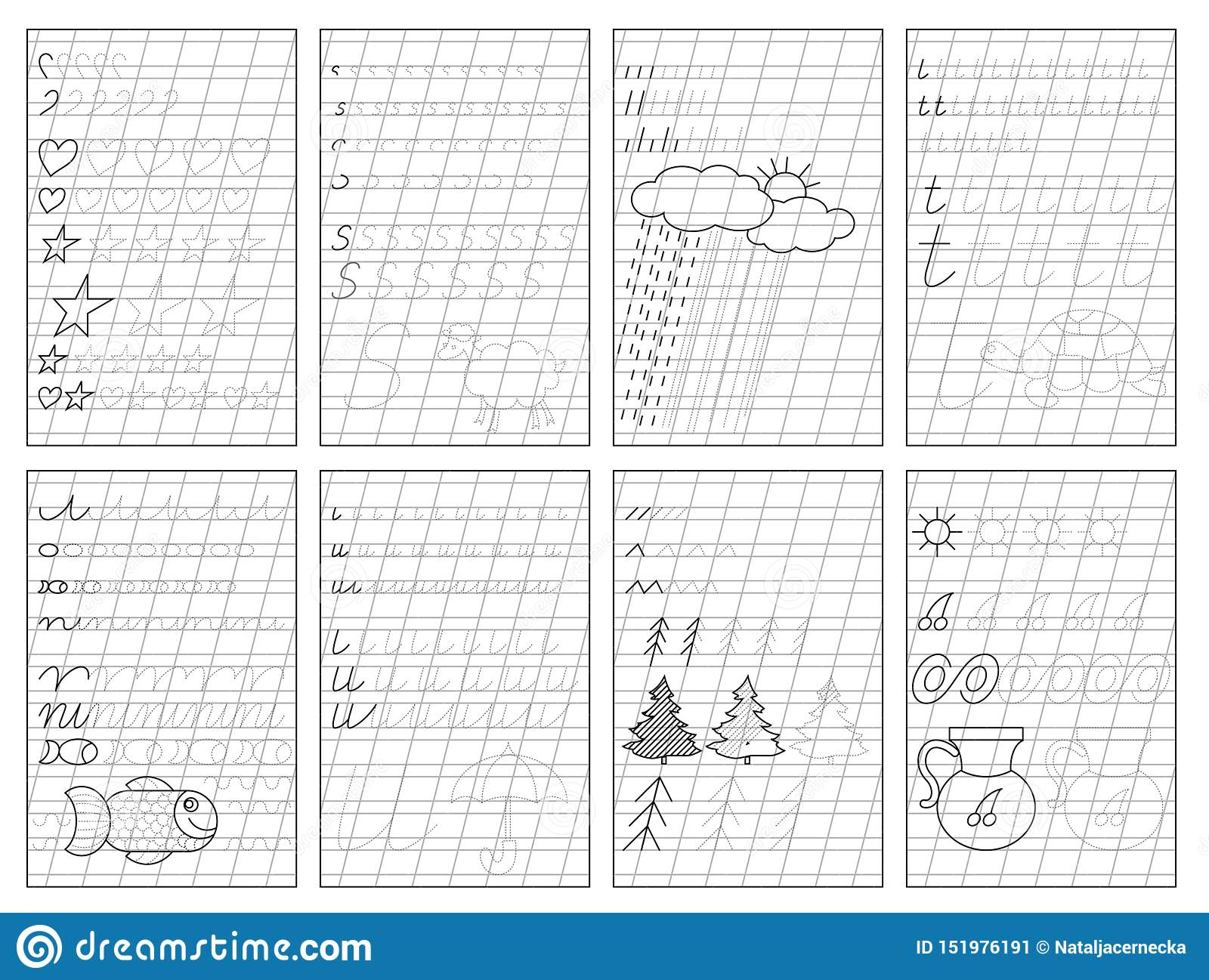Set Of Black And White Educational Pages On Oblique Line