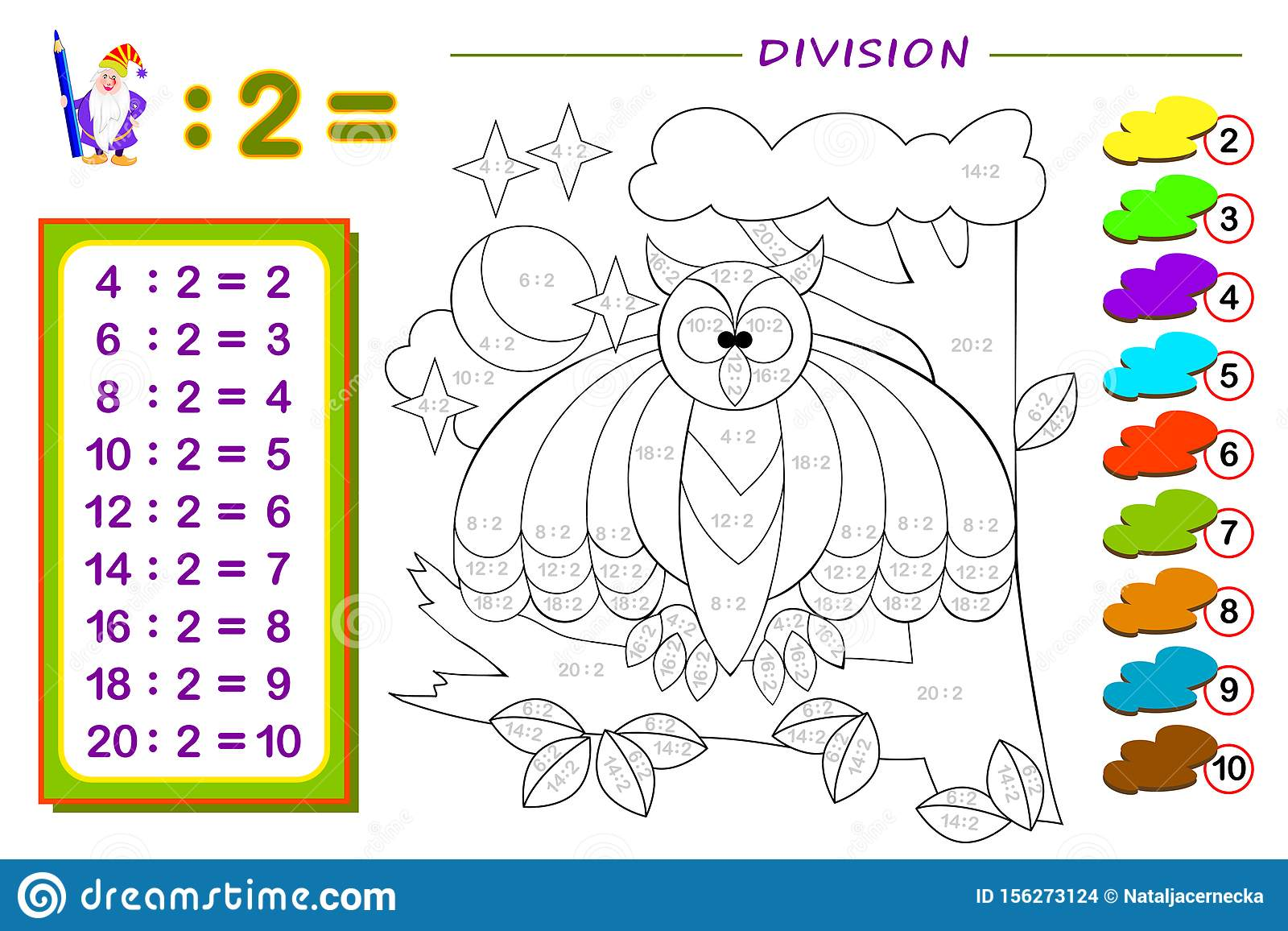 Exercises For Kids With Division By Number 2 Paint The
