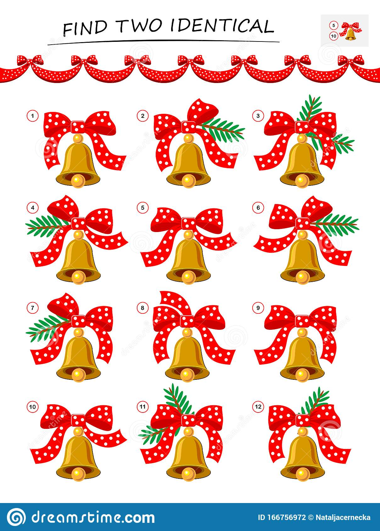 Need To Find Two Identical Christmas Bells Logic Puzzle