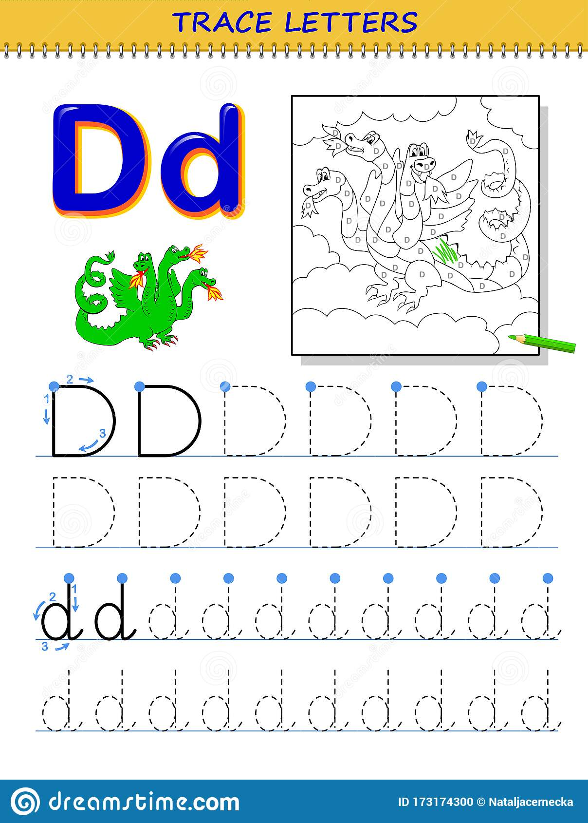 Tracing Letter D For Study Alphabet Printable Worksheet