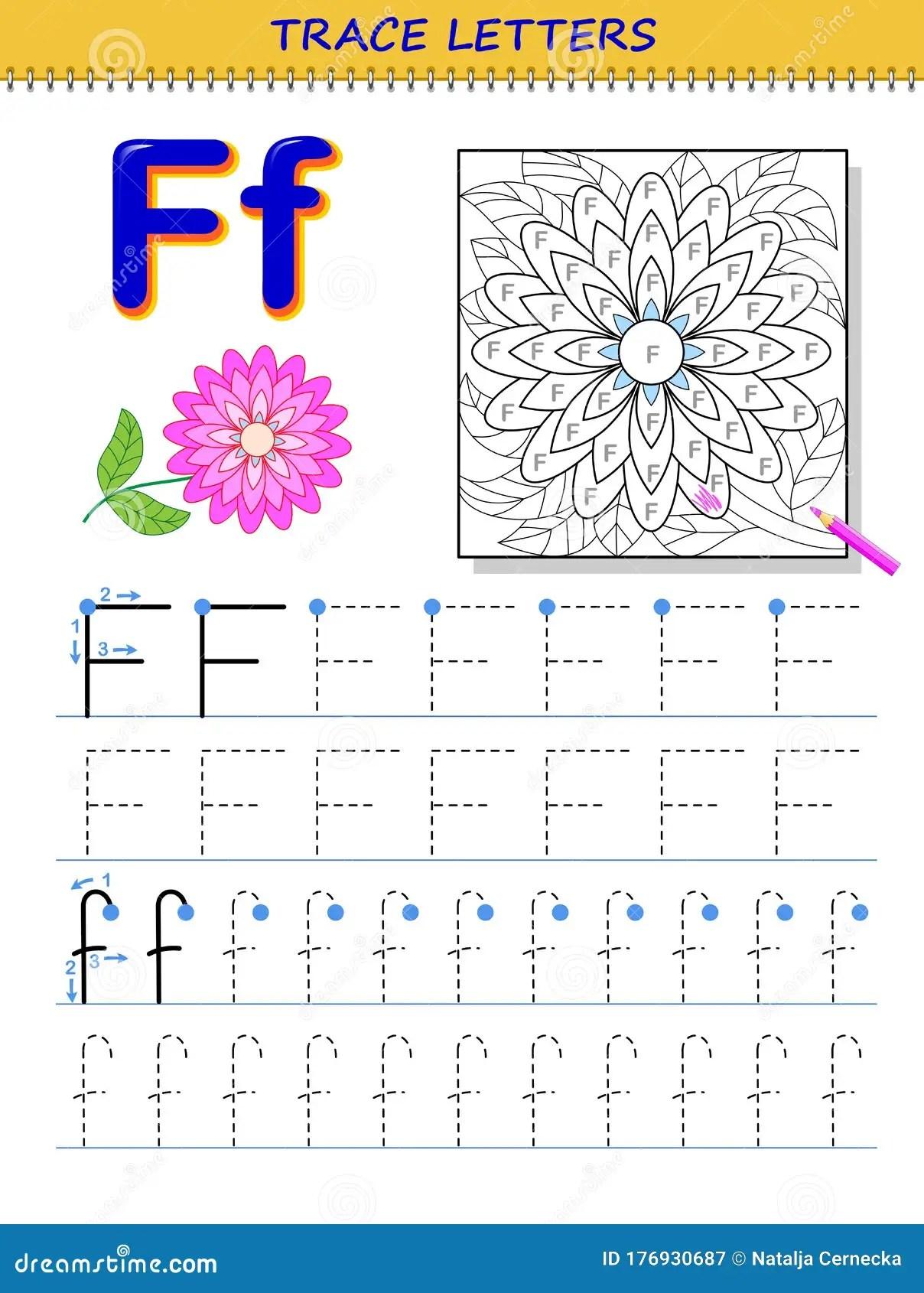 Tracing Letter F For Study Alphabet Printable Worksheet