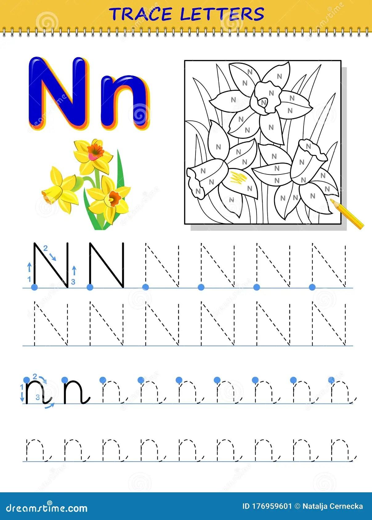 Tracing Letter N For Study Alphabet Printable Worksheet