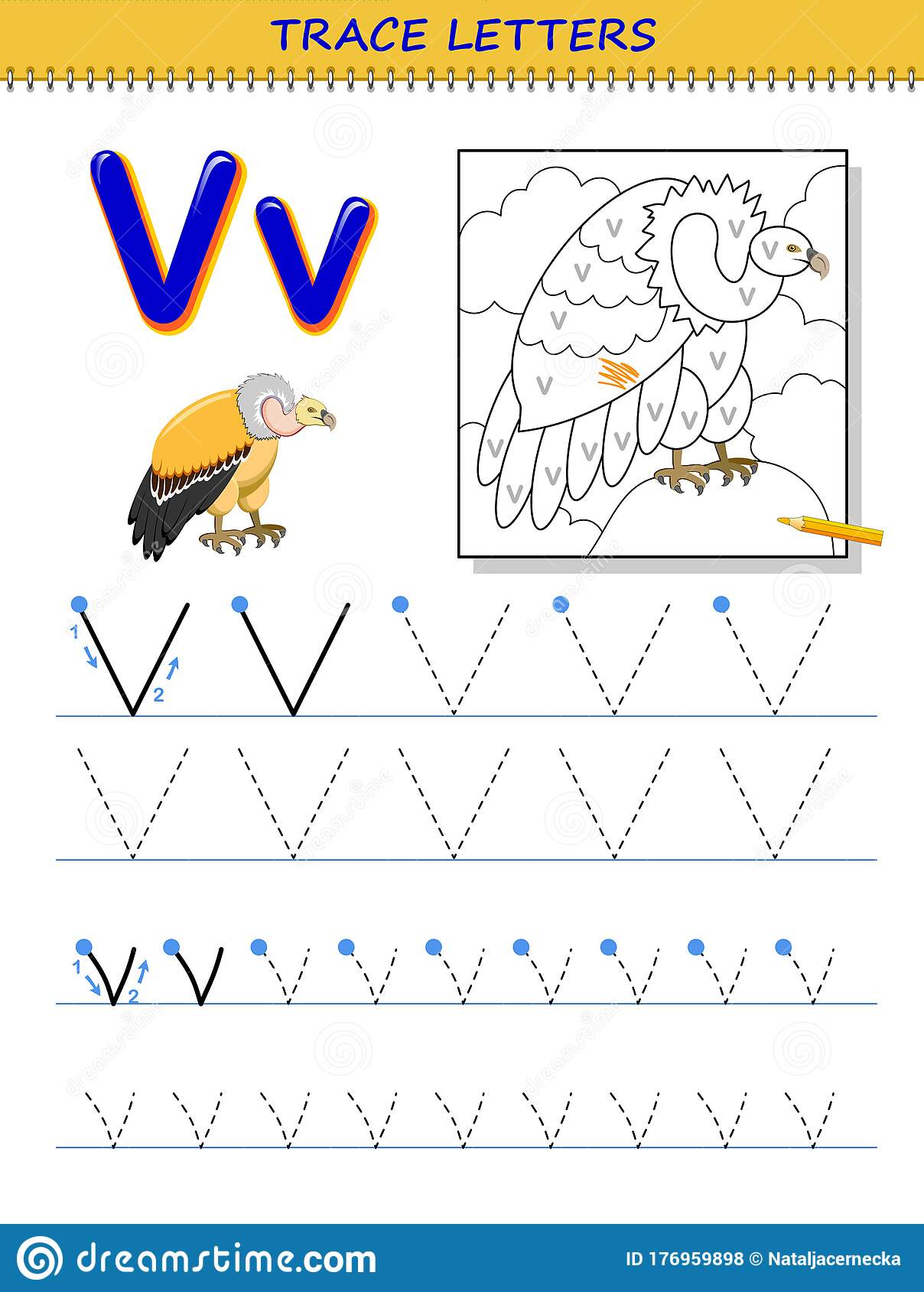 Tracing Letter V For Study Alphabet Printable Worksheet