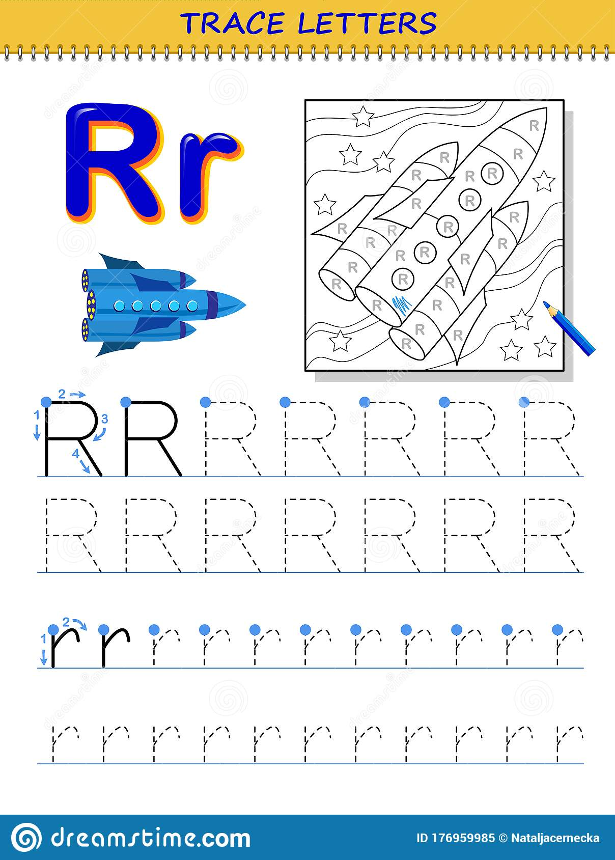 Tracing Letter R For Study Alphabet Printable Worksheet