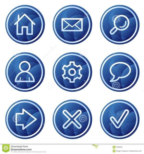 Basic Web Icons Blue Circle Buttons Series Stock