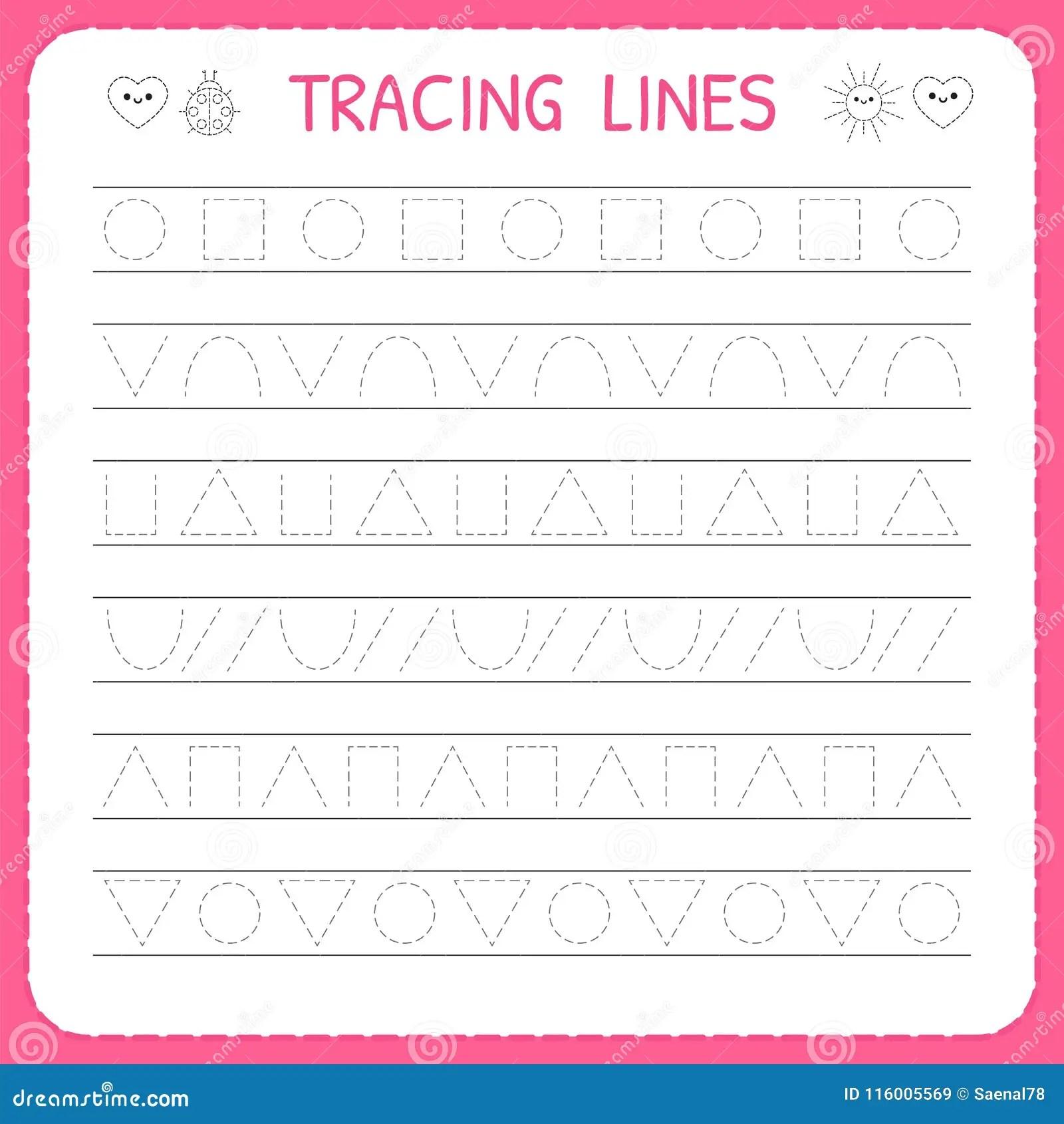 hight resolution of Basic Writing. Trace Line Worksheet For Kids. Preschool Or Kindergarten  Worksheet. Working Pages For Children Stock Vector - Illustration of dash