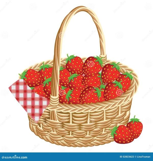 basket of strawberries stock vector