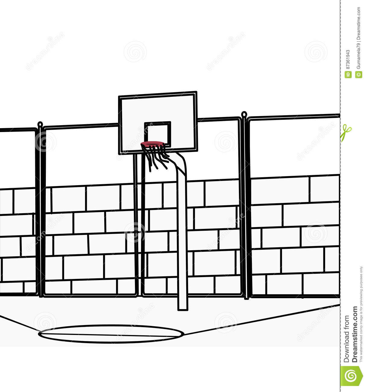 Basketball Court Coloring Page Stock Illustration