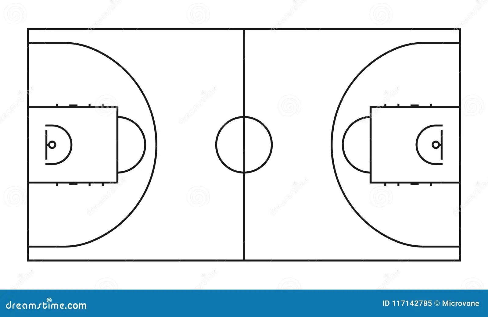 Basketball Court Line Vector Background Outline