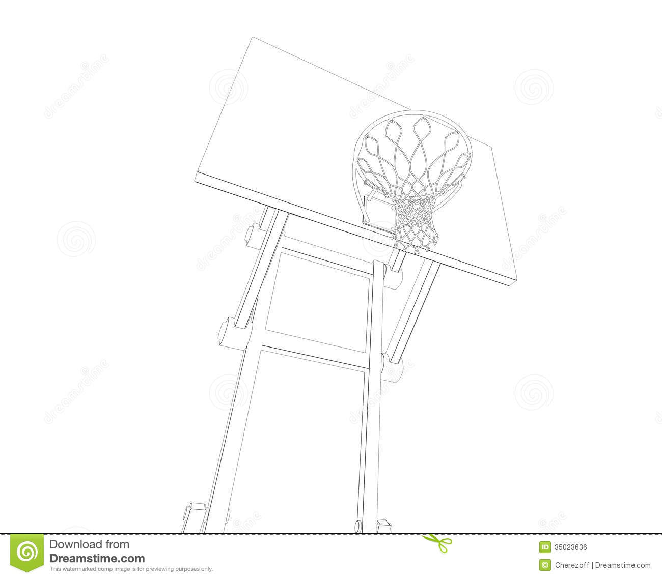 Basketball Court Wire Frame Royalty Free Stock Image