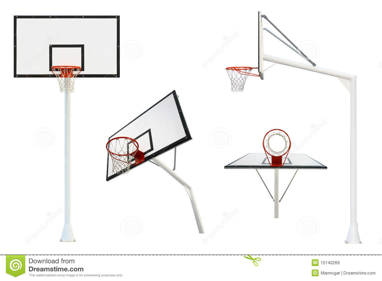 Basketball Goal Isolated From Different Views Stock Image
