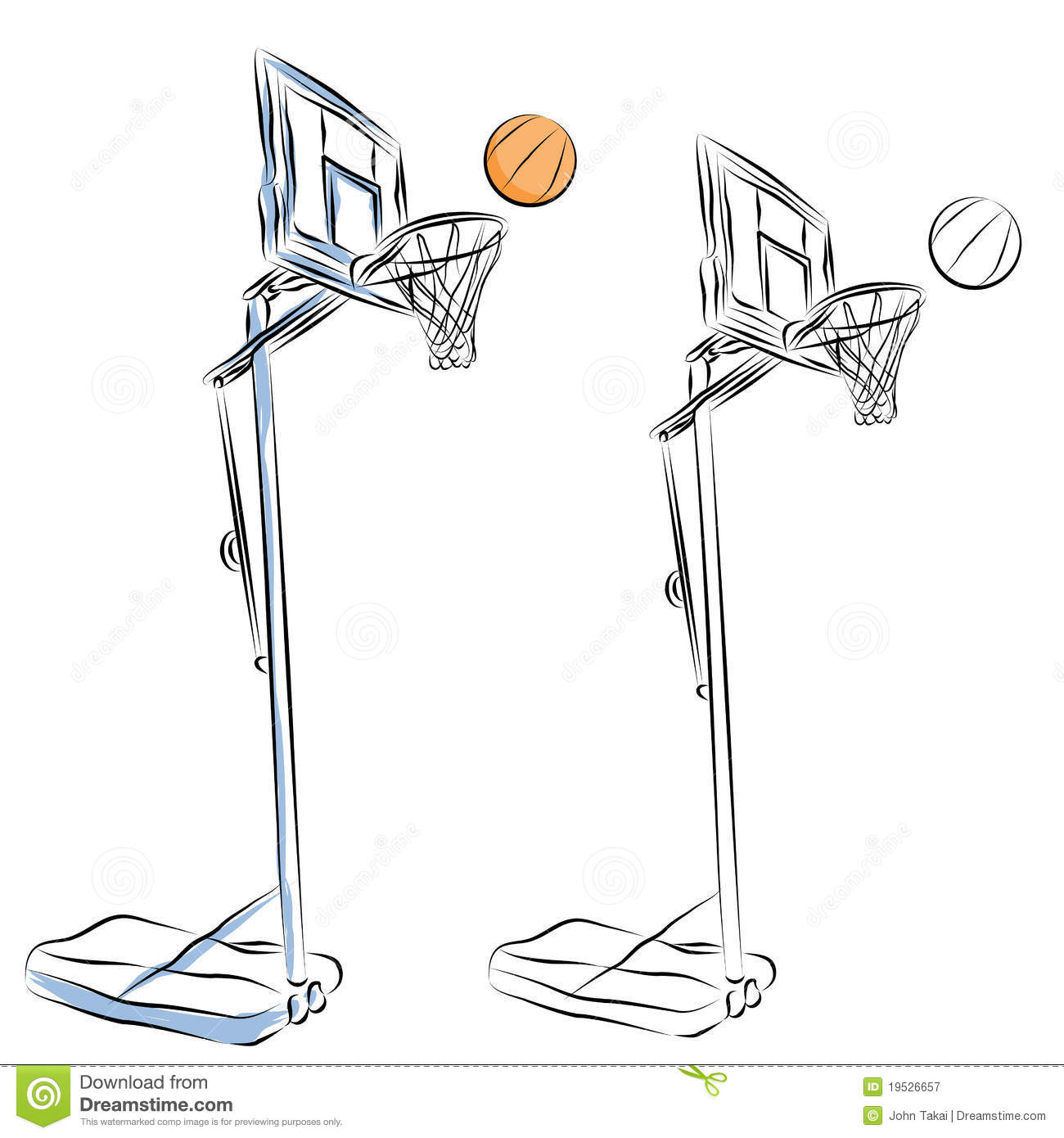 Basketball Hoop Stand Line Drawing Royalty Free Stock Photography