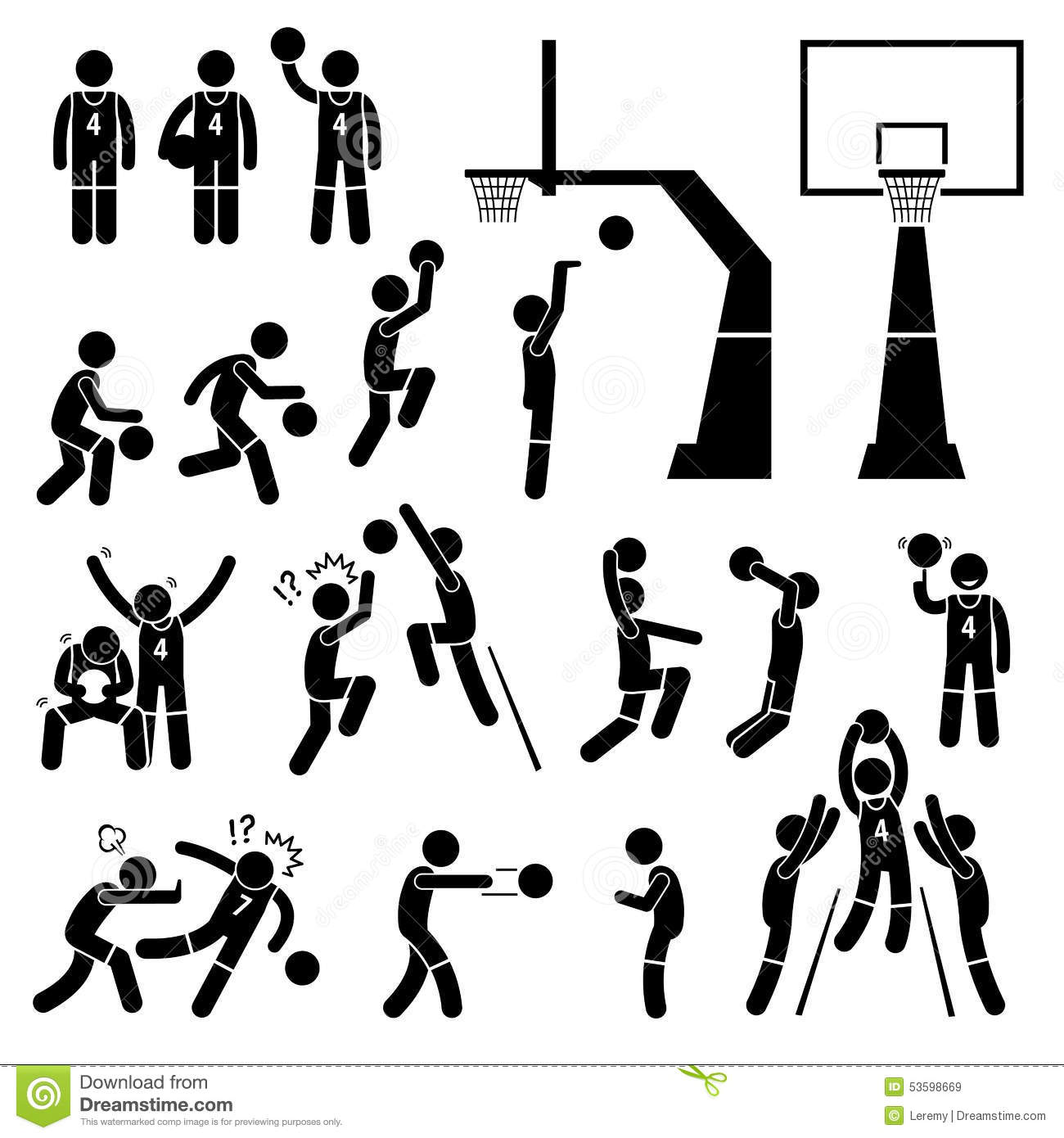 Basketball Player Action Poses Cliparts Stock Vector