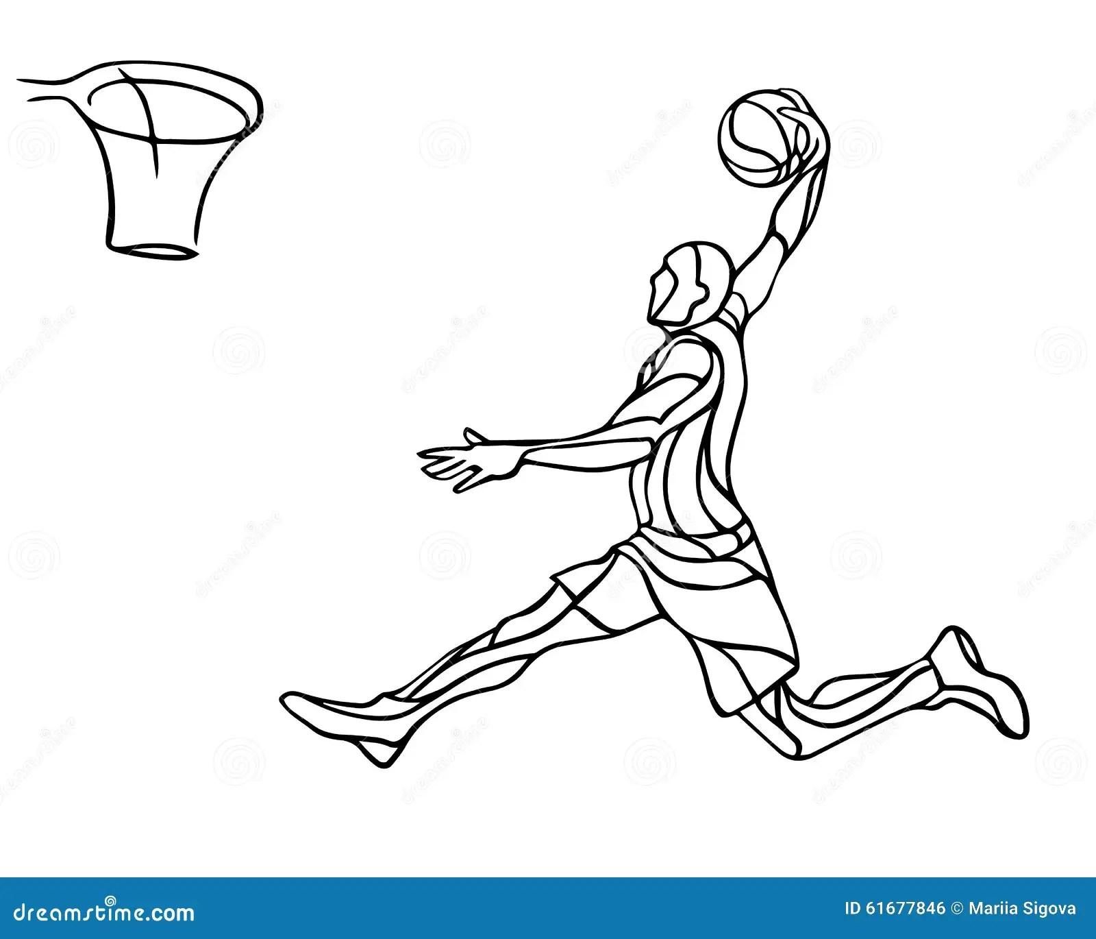 Basketball Player Slam Dunk Silhouette Stock Vector