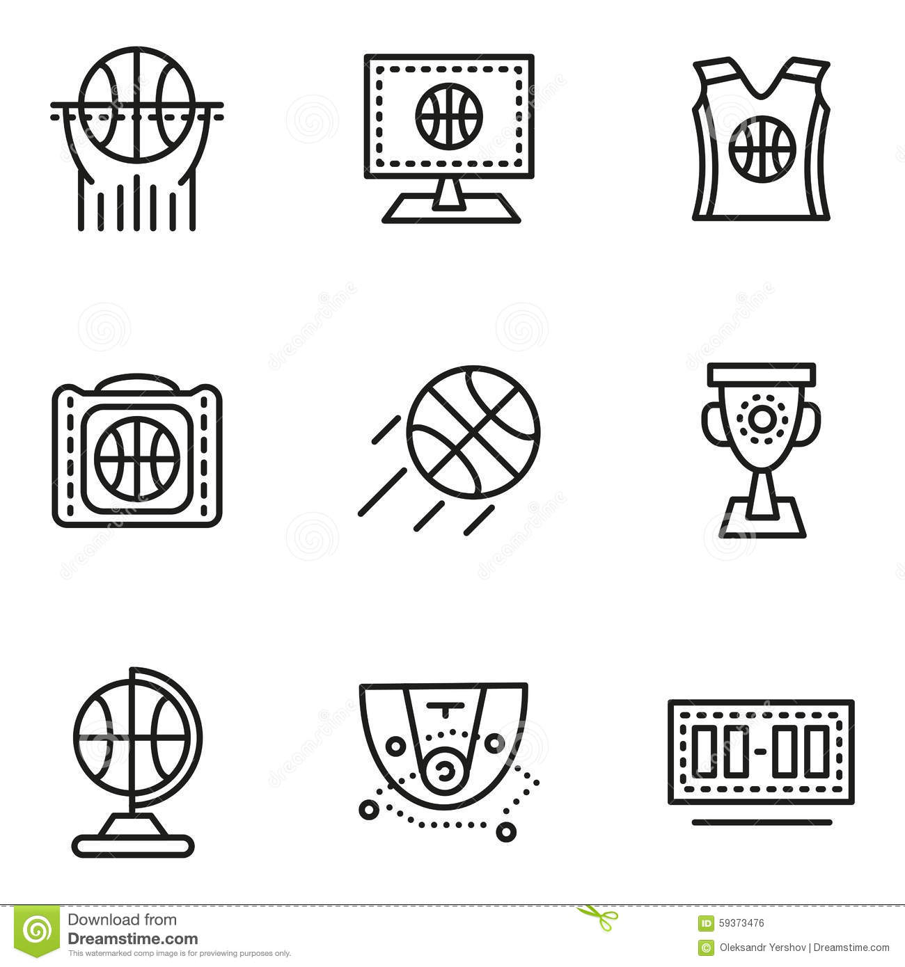 Offense Icons Set, Simple Style Vector Illustration