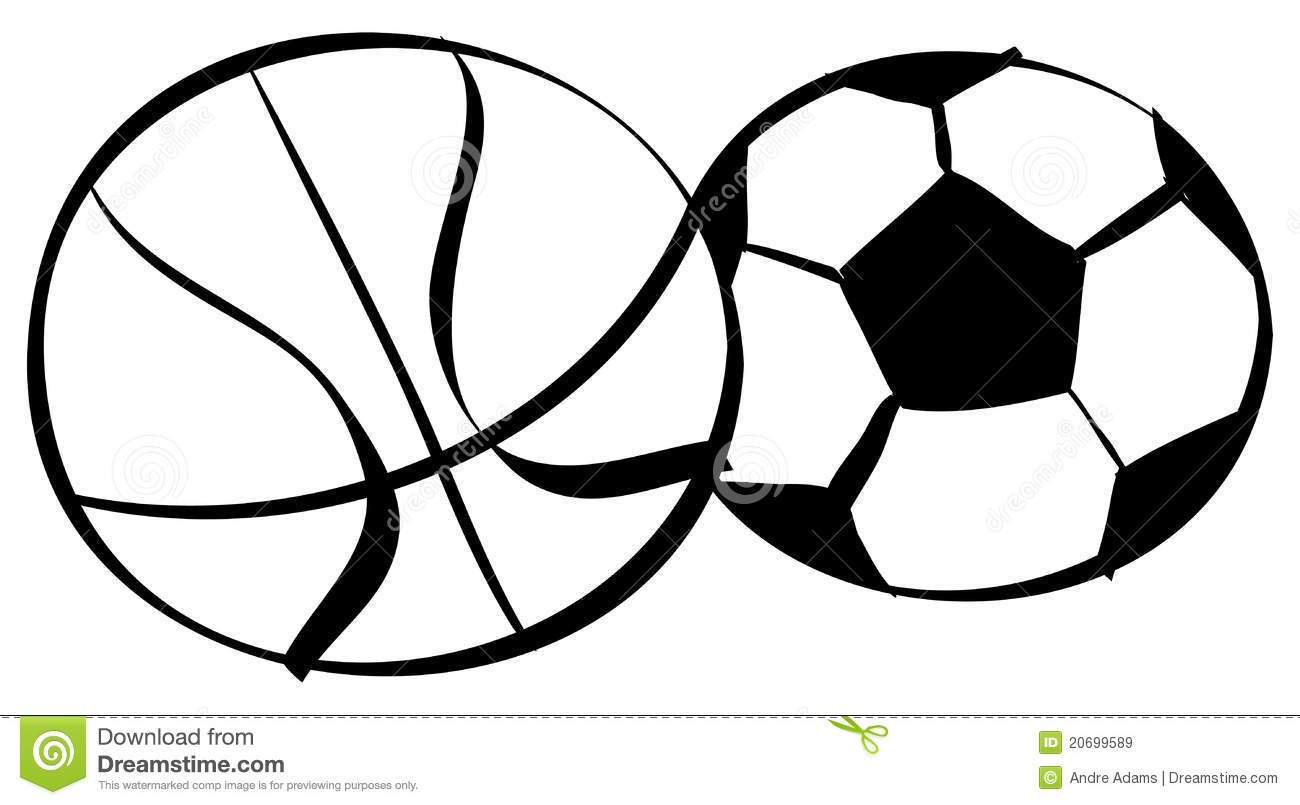 Basketball Soccer Outlines Stock Vector Illustration Of Drawing