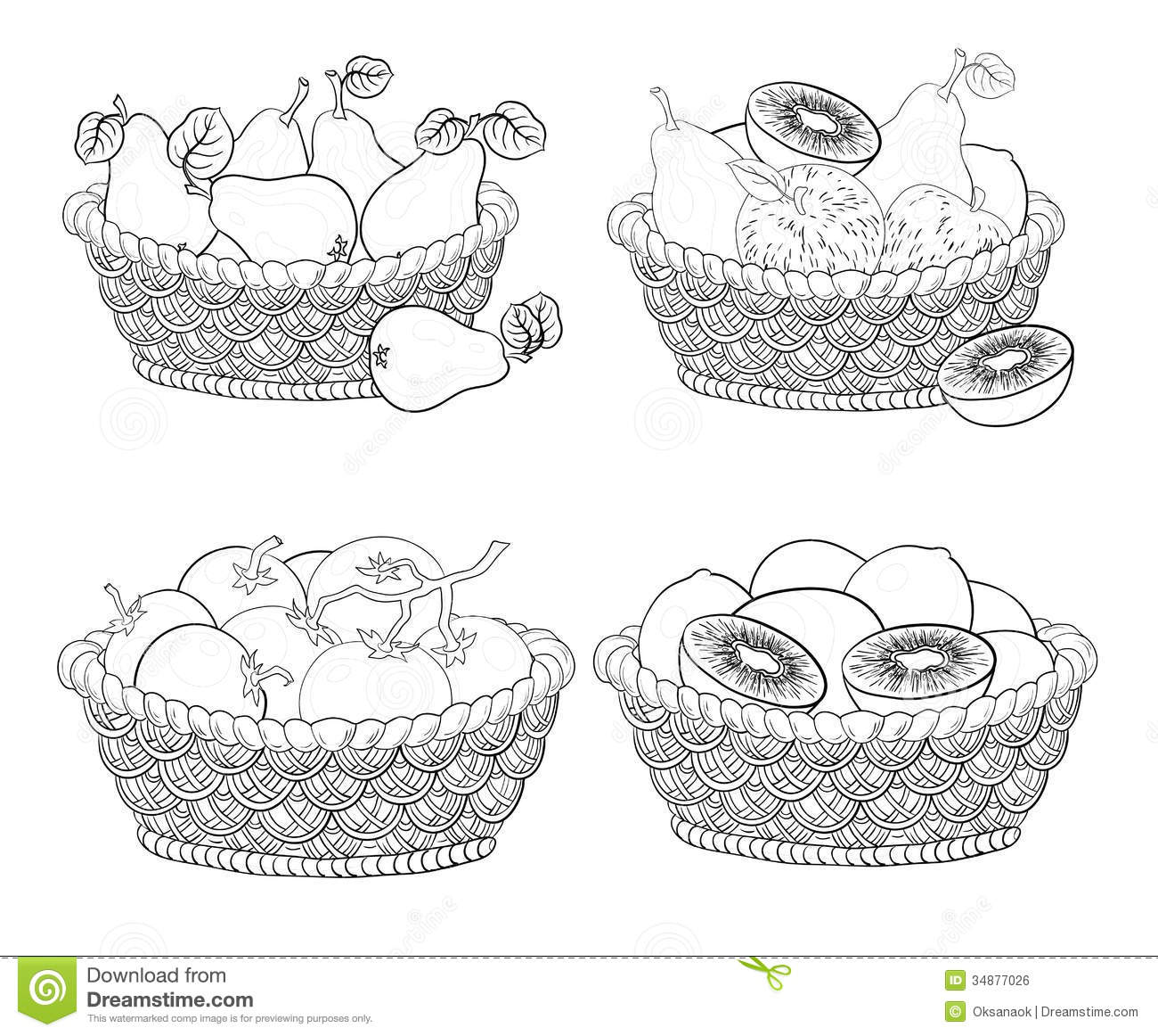 Baskets With Fruits And Vegetables, Outline Royalty Free