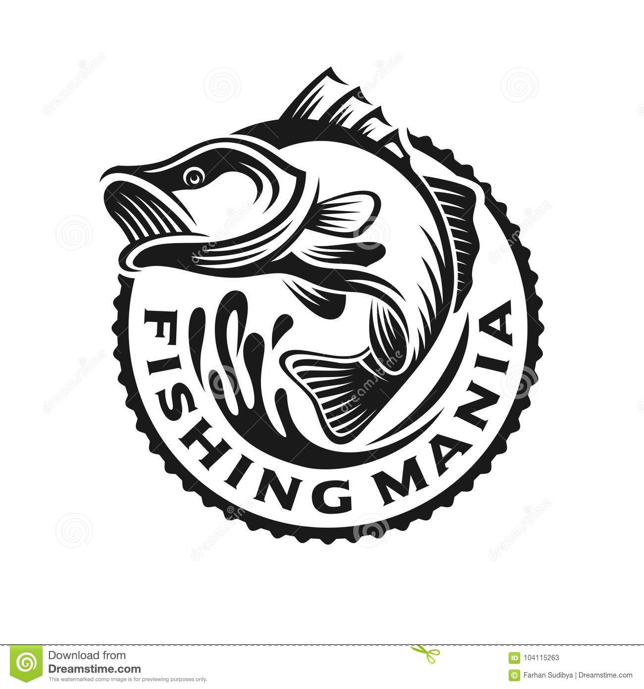 Monochrome Fish Bass Logo Cartoon Vector