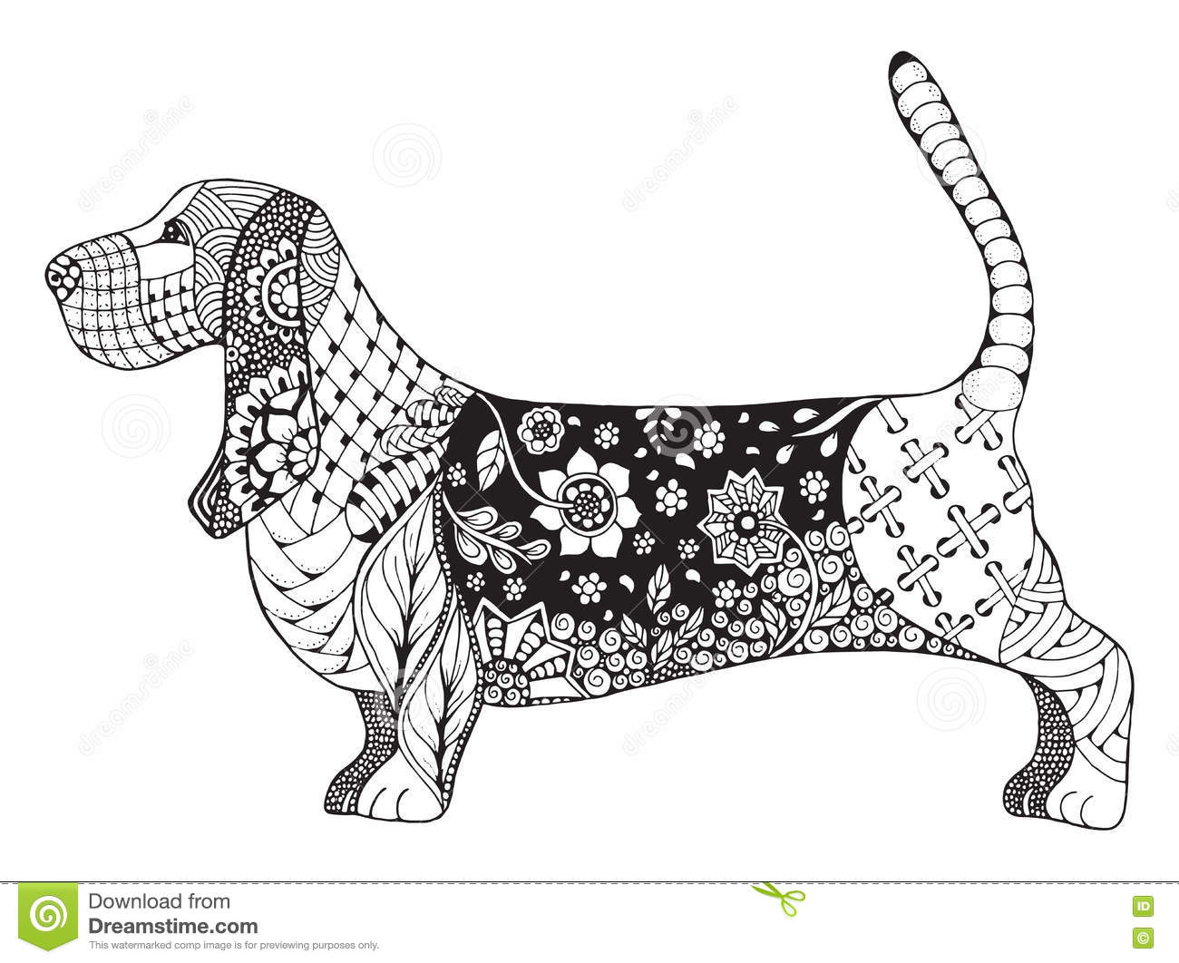 Pencil Drawing Of A Basset Hound Royalty Free Stock Image
