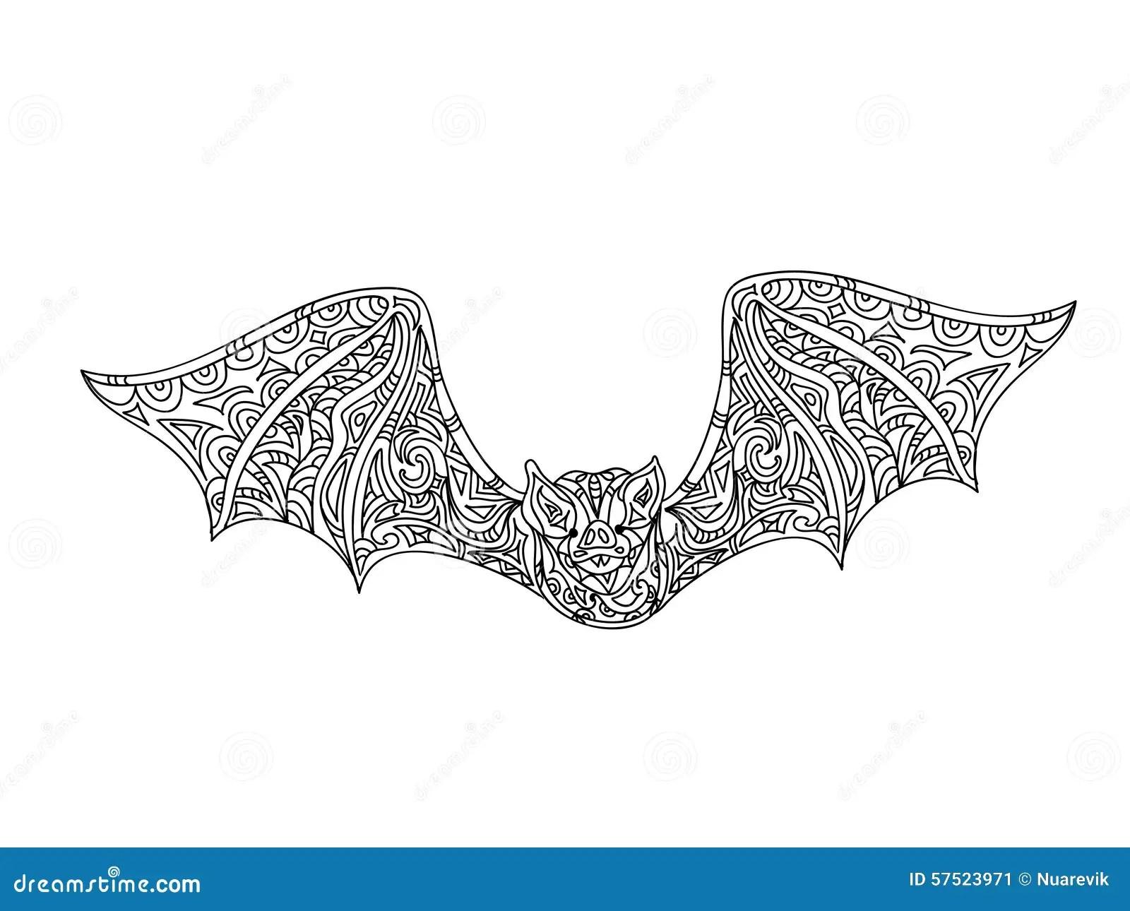 Bat Coloring Page Stock Illustration