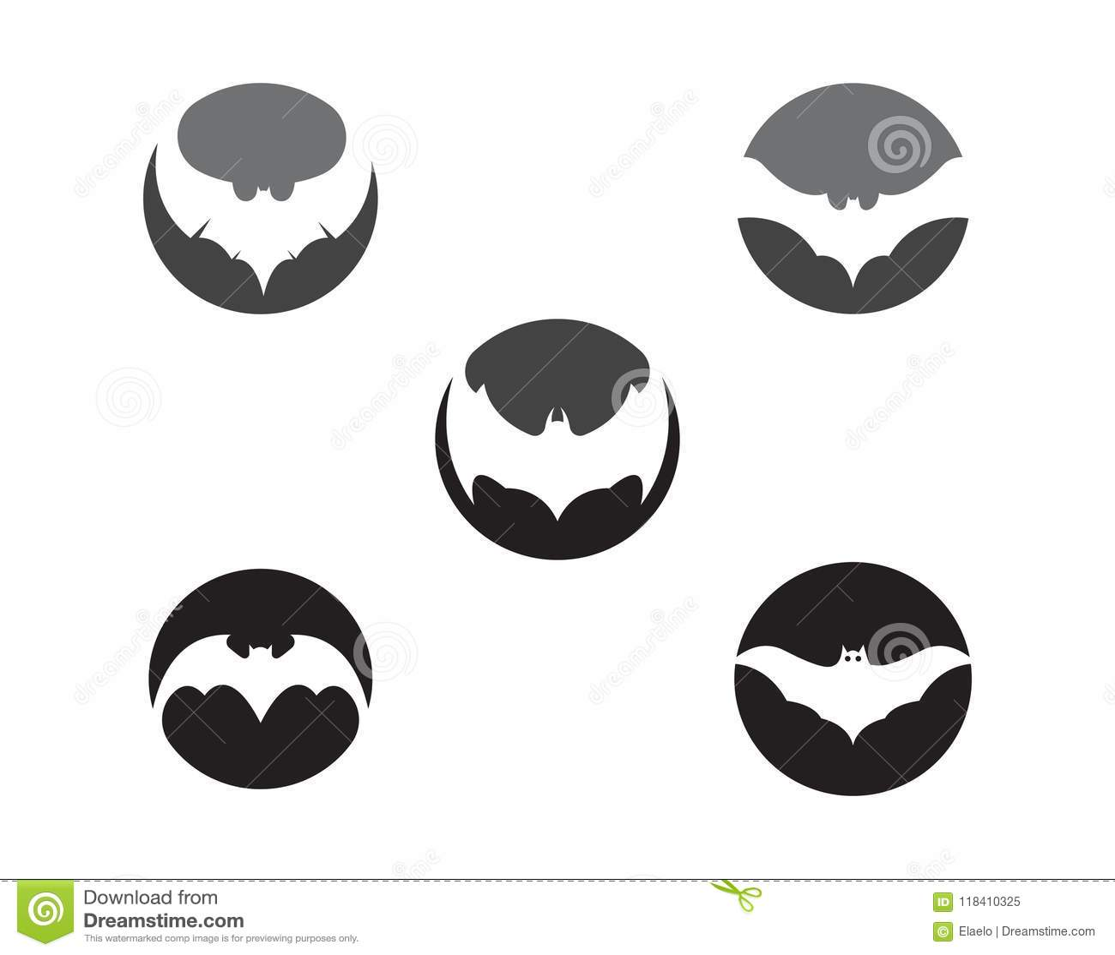 Bat Vector Icon Logo Template. Night, Style.
