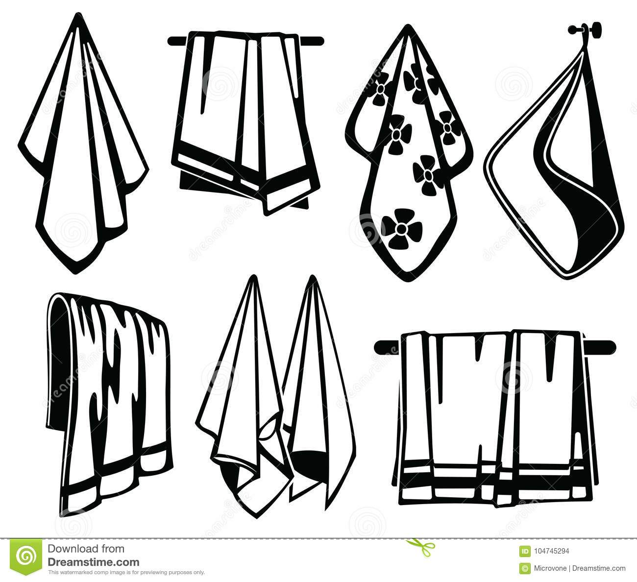 Bath, Beach And Kitchen Soft Fabric Towels Vector Black