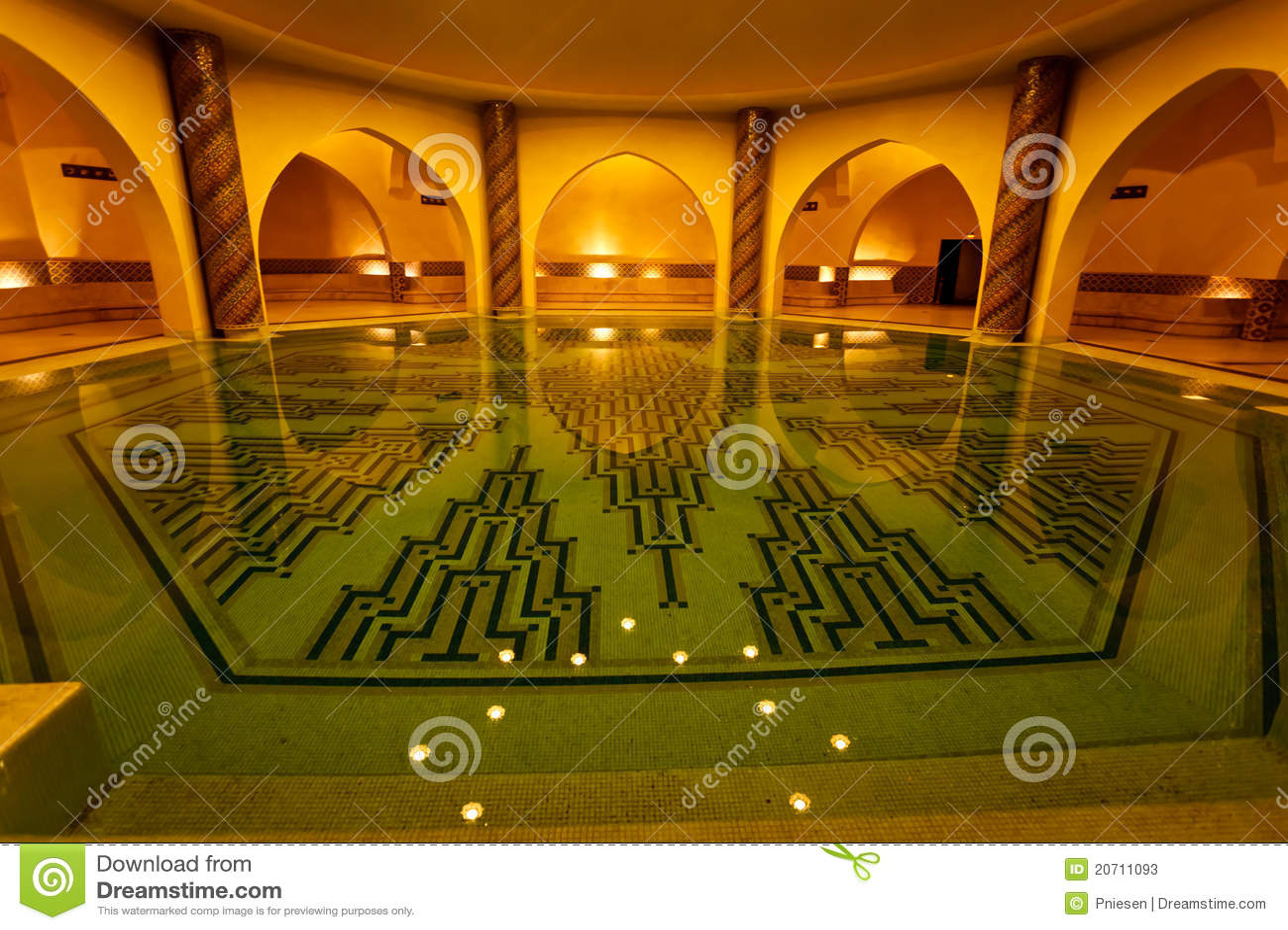 Bathing Pool Inside Of Hammam Turkish Bath Stock Photos