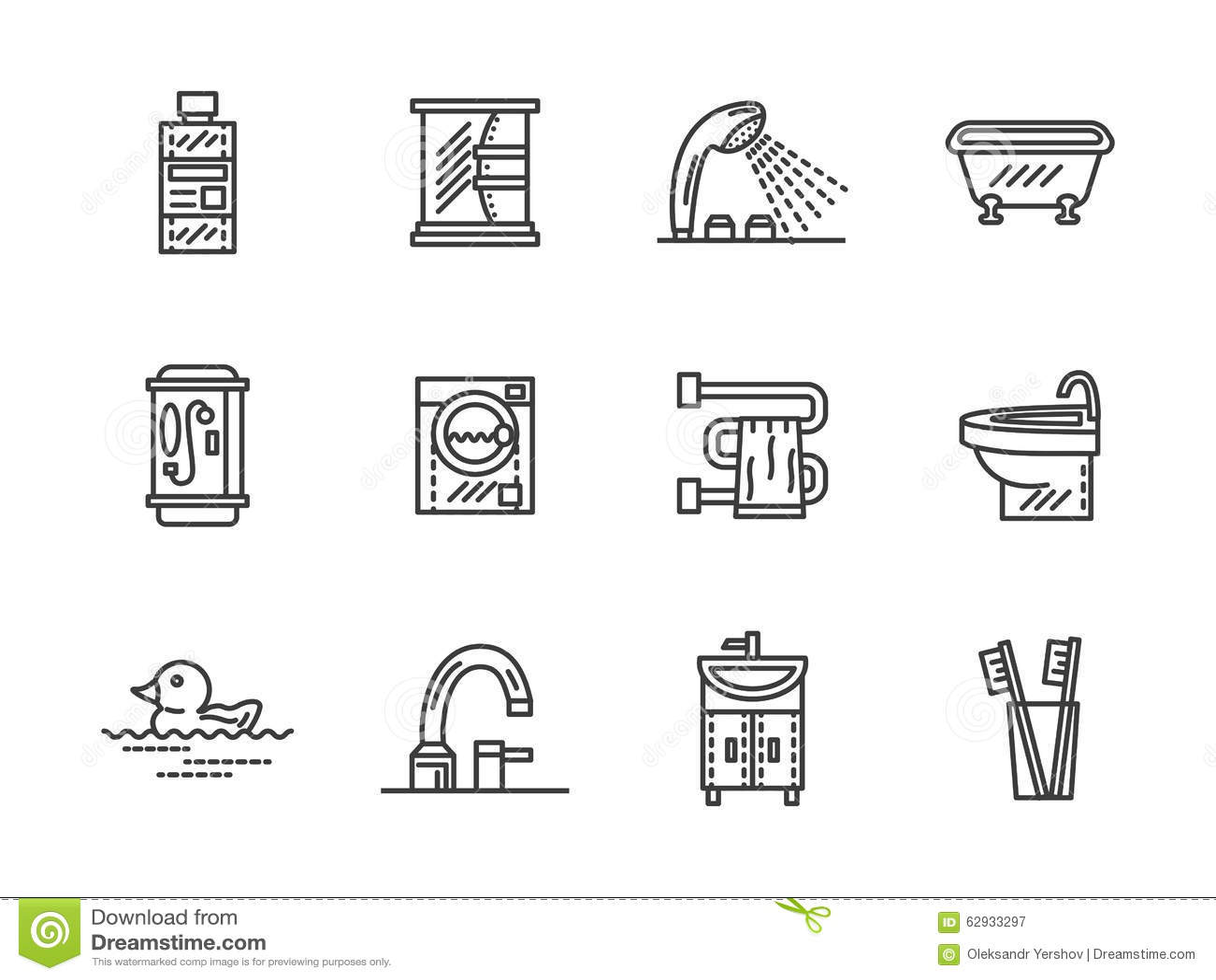 Bathroom Black Line Icons Stock Photo