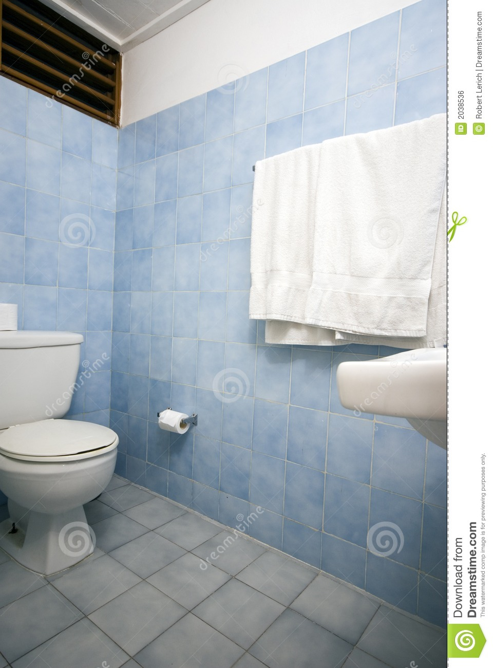 Bathroom With Blue Tile Royalty Free Stock Image  Image