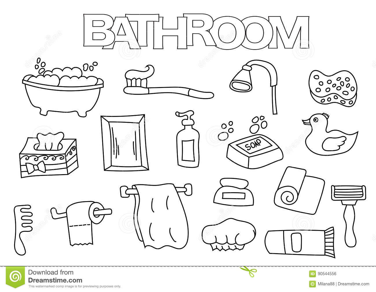 Bathroom Elements Hand Drawn Set. Coloring Book Template