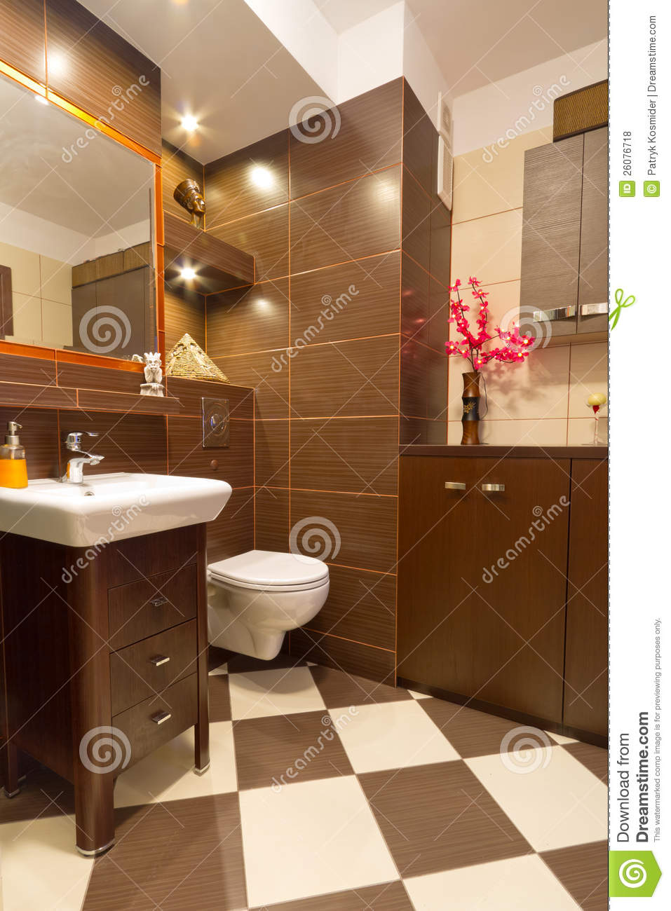 Bathroom Interior With Brown And Beige Tiles Stock Photo  Image 26076718