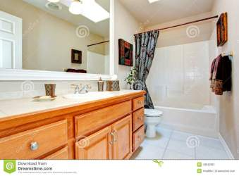 Bathroom Interior In New American House Stock Image Image of simple shower: 43842851