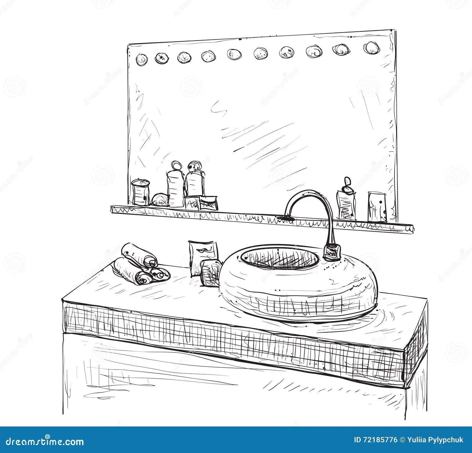 Bathroom Interior Sketch Washbasin And Mirror Stock