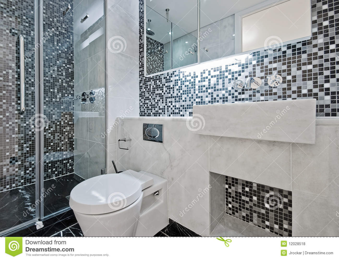 Bathroom with mosaic tiles stock photo Image of mixer  12028518